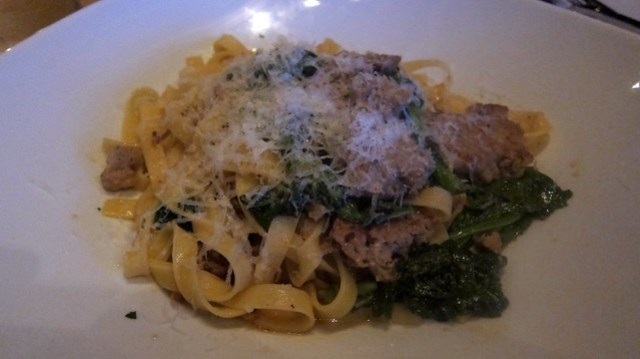rapini and sausage pasta at double zero napoletana