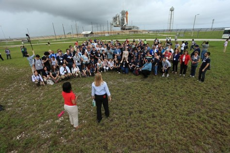The NASA Tweetup in front of the Space Shuttle