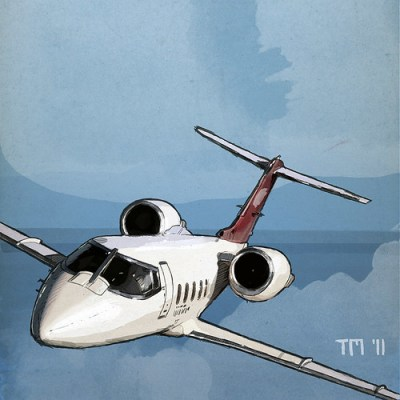 Flying Bombardier Learjet Business Jet