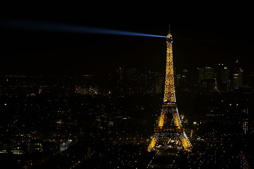 Eiffel Tower at night from the Montparnasse Tower