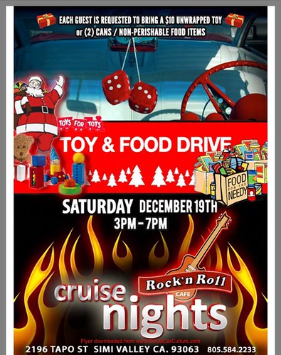 "SIMI VALLEY CA USA - ""Cruise Night Rock and Roll, Toy and Food Drive"" Dec 19 Saturday - 3pm to 7pm - Credit: www.SoCalCarCulture.com • <a style=""font-size:0.8em;"" href=""http://www.flickr.com/photos/134158884@N03/23738455722/"" target=""_blank"">View on Flickr</a>"