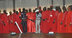 """Governor Adams Oshiomhole and Mr Godwin Obaseki, APC governorship candidate in Edo State and some Chief Priests during the endorsement of the APC gubernatorial candidate by Chief Priests in Edo State, Tuesday. • <a style=""""font-size:0.8em;"""" href=""""http://www.flickr.com/photos/139025336@N06/29243892713/"""" target=""""_blank"""">View on Flickr</a>"""