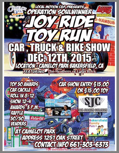 "BAKERSFIELD CA USA ""Joy Ride Toy Run Car Truck Bike Show"" December 12 Saturday - Noon to 4pm - Vendors Entertainment Raffle Awards 50/50 - Family Fun - credit: www.SoCalCarCulture.com • <a style=""font-size:0.8em;"" href=""http://www.flickr.com/photos/134158884@N03/23544642782/"" target=""_blank"">View on Flickr</a>"