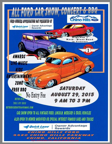"CHINO HILLS CA USA - ""All Ford Car Show Concert BBQ"" August 30 Saturday - 9am to 3pm - Free BBQ, Kids Zone, Music, Awards - open to vintage ford, Mercury, Lincoln, Edsel - and modify and special interest vehicles - credit: www.SoCalCarCulture.com • <a style=""font-size:0.8em;"" href=""http://www.flickr.com/photos/134158884@N03/20302861833/"" target=""_blank"">View on Flickr</a>"