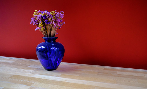 blue vase with dry flowers