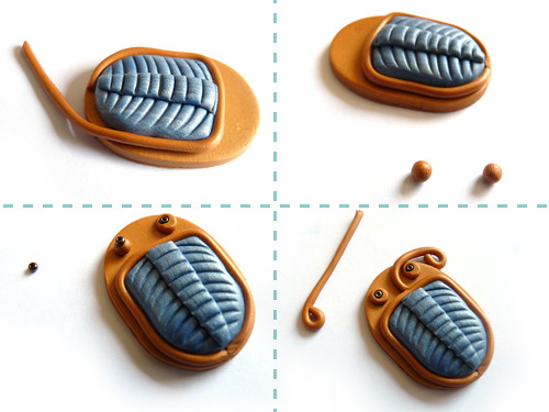 forming the trilobite for your pendant out of polymer clay
