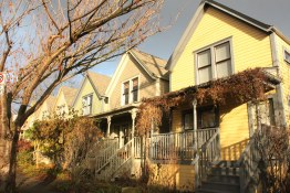 Strathcona Houses at sunset