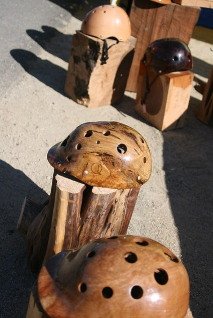 custom made wooden bike helmets