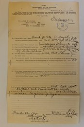 Questionnaire filled out by Gross detailing his marriage after the War