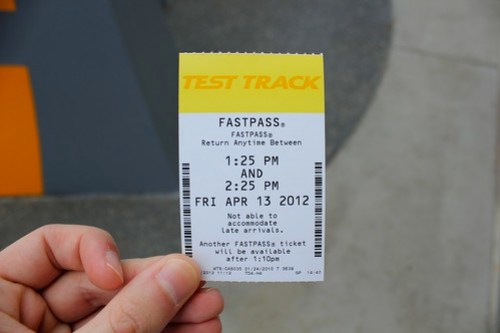 Fast Pass - Test Track at Epcot