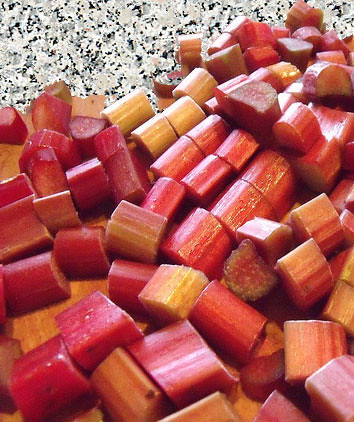 Chopped Rhubarb Ready for Roasting