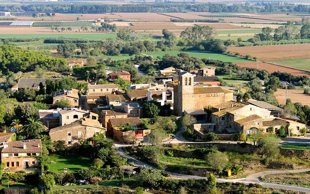 Village seen while hot air ballooning over Costa Brava, Catalunya, Spain.