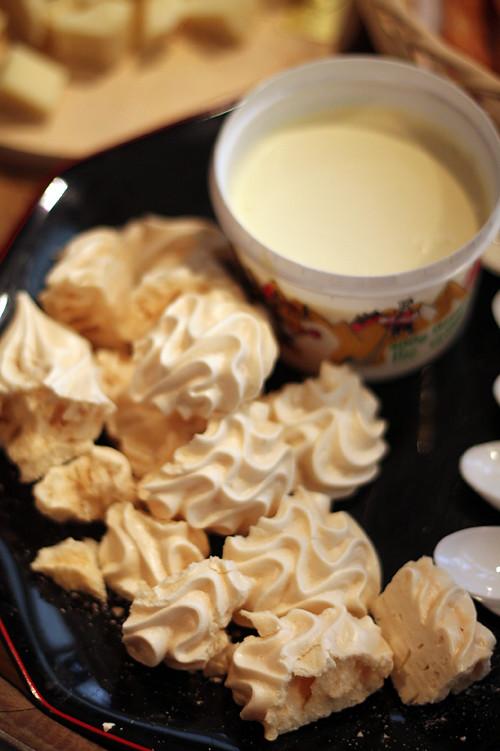 meringues and Gruyere cream