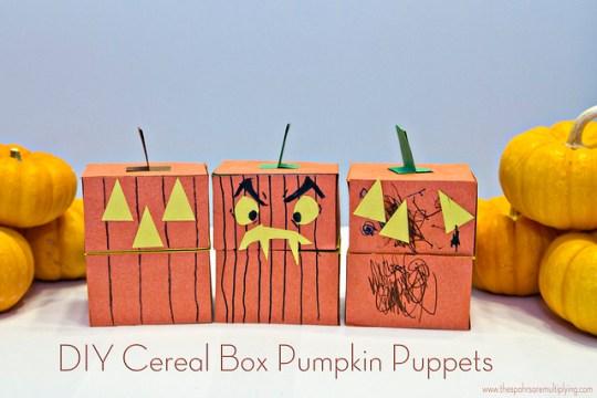 DIY Cereal Box Pumpkin Puppets