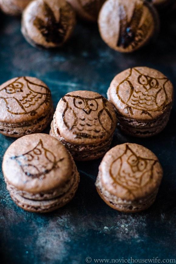 Hazelnut Macarons with Hazelnut Chocolate Ganache by The Novice Housewife #macarons