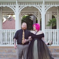 Tina & Shadow's economical coastal tattooed wedding
