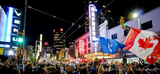 Party time on Granville Street (Image: Maurice Li).