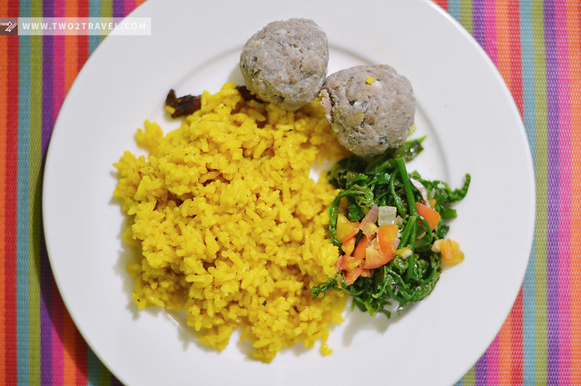 Yellow rice, uvod balls, and fern salad—traditional Ivatan dishes at Basco, Batanes - Two2Travel.com