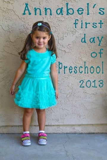 Annabel's first day of preschool