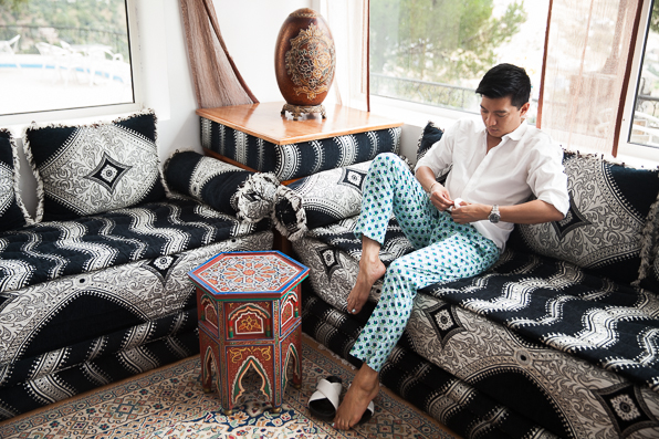 Bryanboy wearing Prada trousers at Hotel Atlas, Chefchaouen