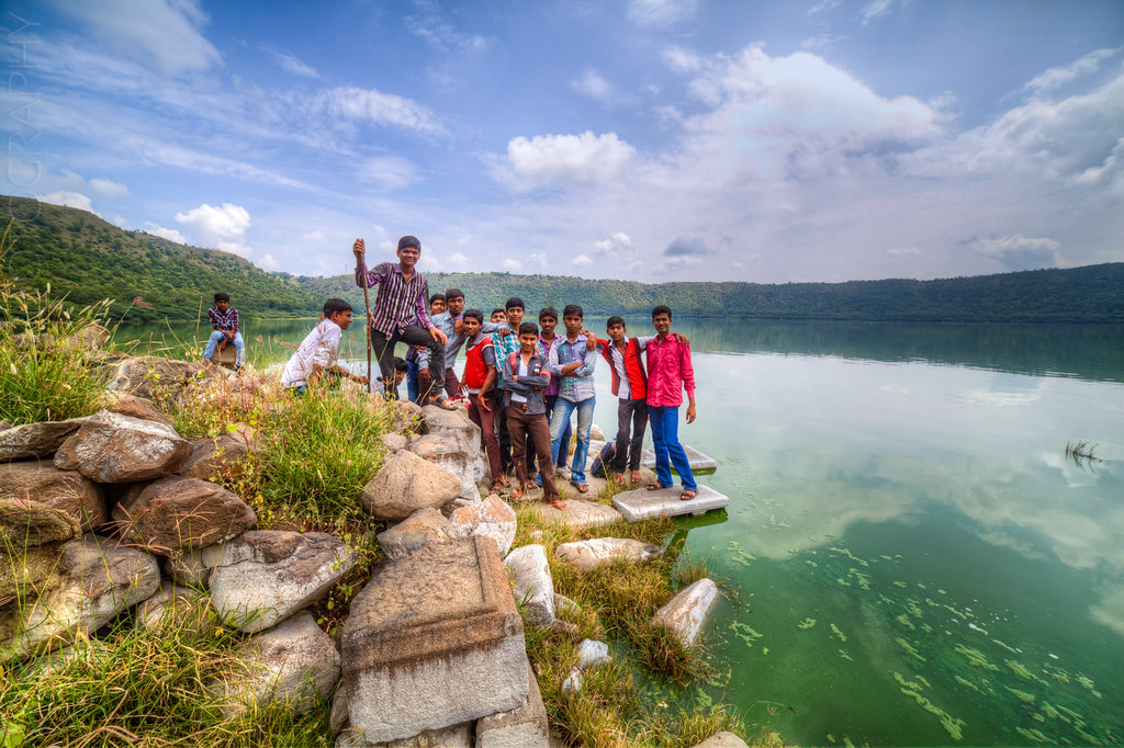 Friendly locals at the Lonar lake