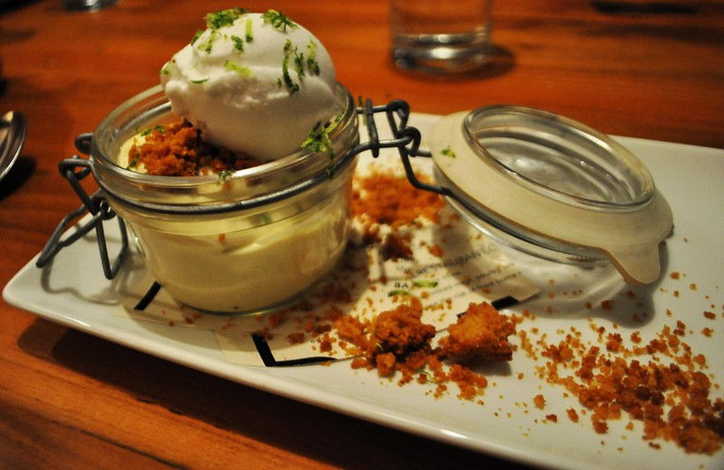 Banana Pudding with Cornbread Crispies, Jalapeno Coconut Sorbet - The River and Rail Restaurant, Roanoke, Va., April 2014 #OldSchoolVA #LoveVA