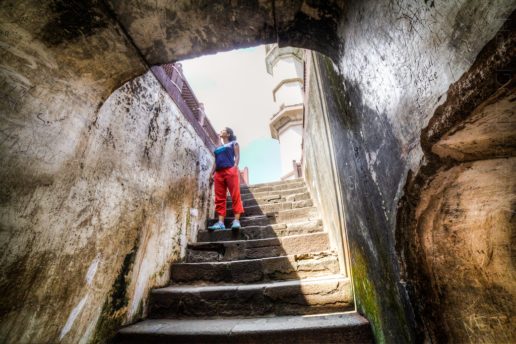 Descending the Stairs of the Bibi Ka Maqbara