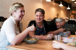 Staff meal at Burdock & Co. | Everyone takes a moment for a good laugh