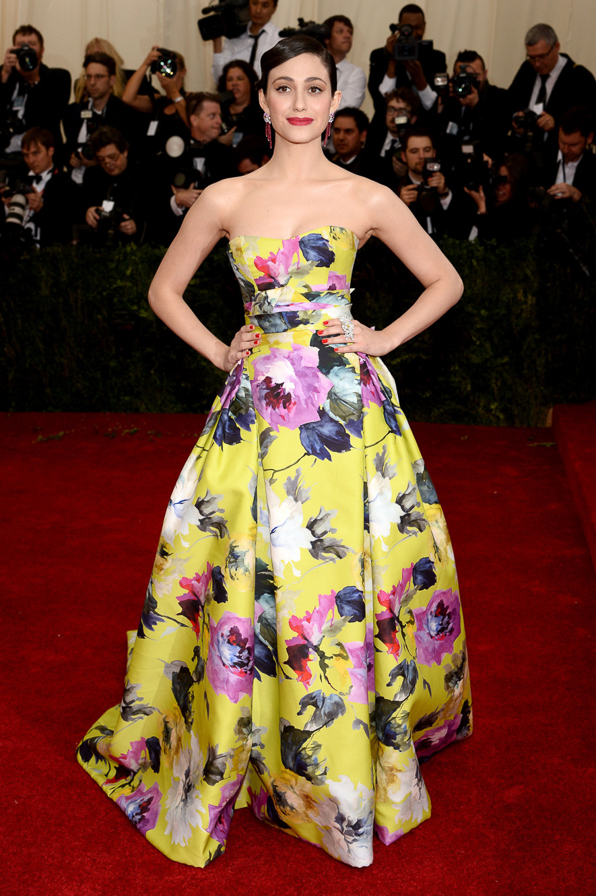 2014 Met Ball Best Dressed Emmy Rossum in Carolina Herrera