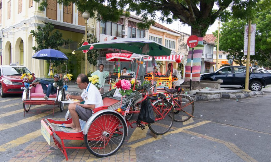 trishaw photos george town penang