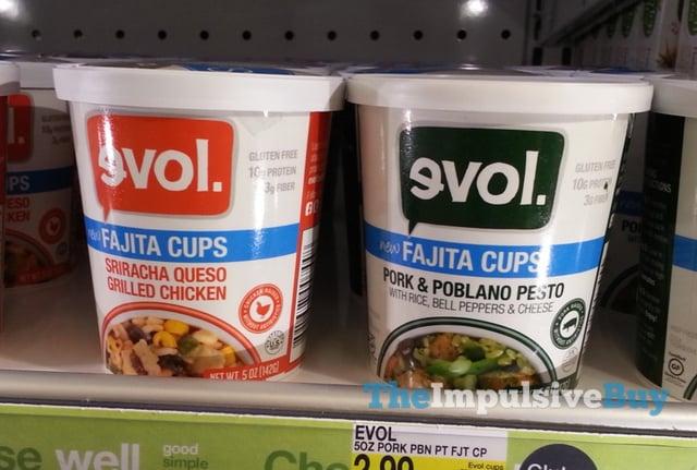 evol Sriracha Queso Grilled Chicken and Pork & Poblano Pesto Fajita Cups