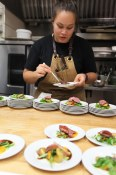 Homer St. Café & Bar preps plate after plate of delightfully smoked lamb sirloin tomato jam