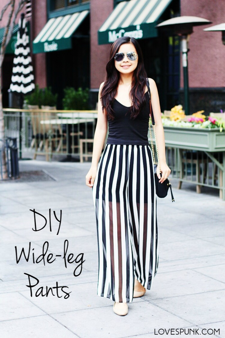 DIY Wide-leg Pants- A super easy tutorial with step-by-step instructions and photos!
