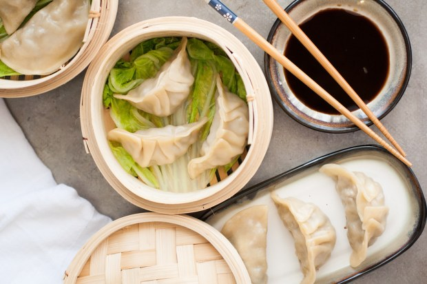 Easy mushroom leek Chinese dumplings. Deliciously savory and vegetarian, too! Step-by-step folding tutorial plus three cooking methods!