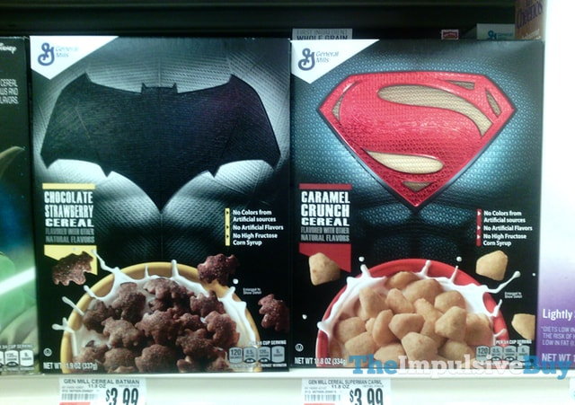 General Mills Batman Chocolate Strawberry and Superman Caramel Crunch Cereals