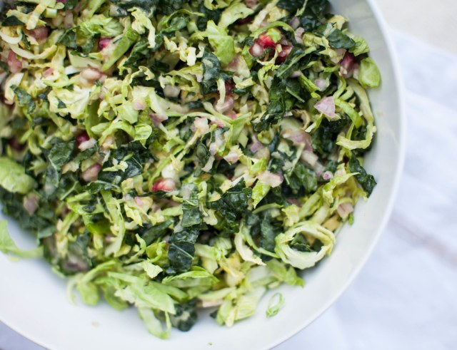 kale brussels sprouts + pomegranate salad