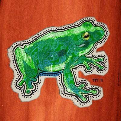 Green Paisley Frog Cutout