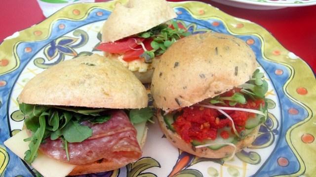 trio of mini sandwiches at cafe jonah