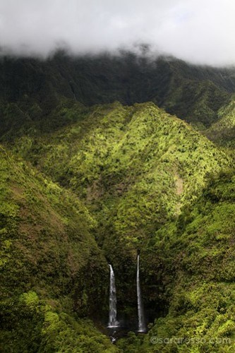 Two waterfalls on Mt. Waialeale, Kauai, Hawaii