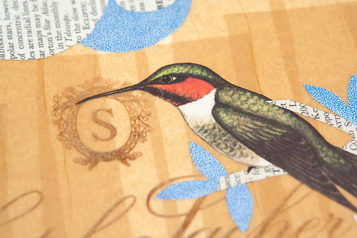Upcycled collage Hummingbirds-2