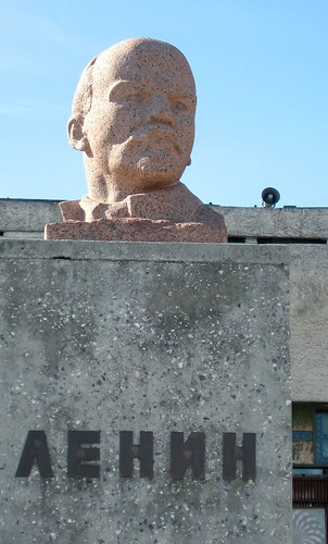 World's northernmost statue of Lenin at Pyramiden, an Arctic ghost town on Spitsbergen in the Svalbard Archipelago, Norway.