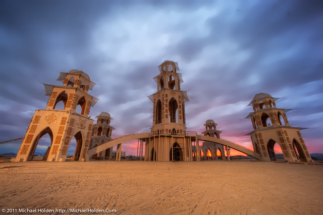 The Temple of Transition during a blood-red sunrise