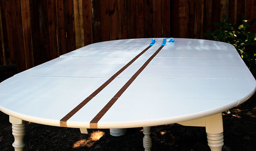 Remove tape on wood stripes full table shot