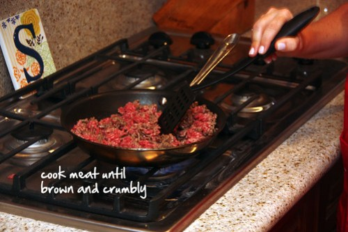 cook meat until brown and crumbly