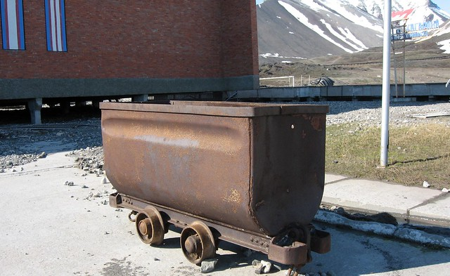 Abandoned mining car at Pyramiden, an Arctic ghost town on Spitsbergen in the Svalbard Archipelago, Norway.