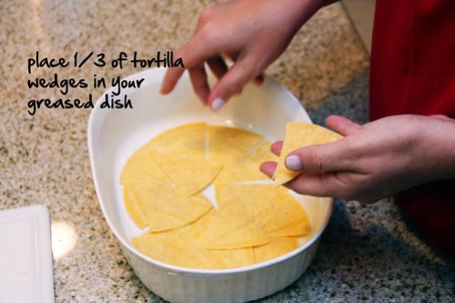 place 1/3 of tortilla wedges in your greased dish