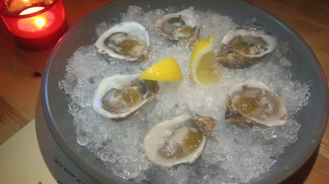 kusshi oysters with hot sauce at octopus bar