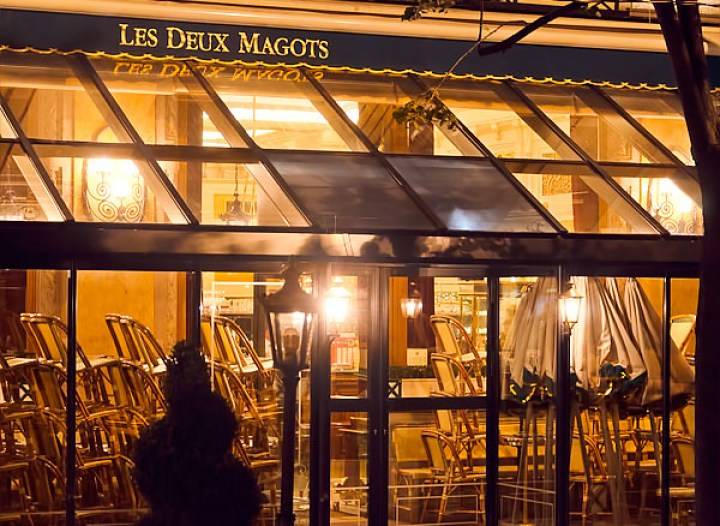 Cafe Deux Magots at night, Paris