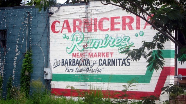 gangsta sign at carniceria ramirez