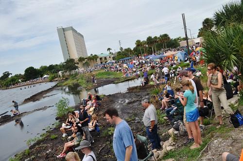 Spectators in Titusville Await Final Launch of  Space Shuttle Atlantis, Titusville, Fla., July 8, 2011